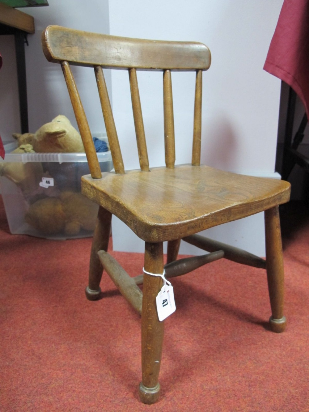 Lot 47 - An Oak Child's Chair, for a doll or teddy.