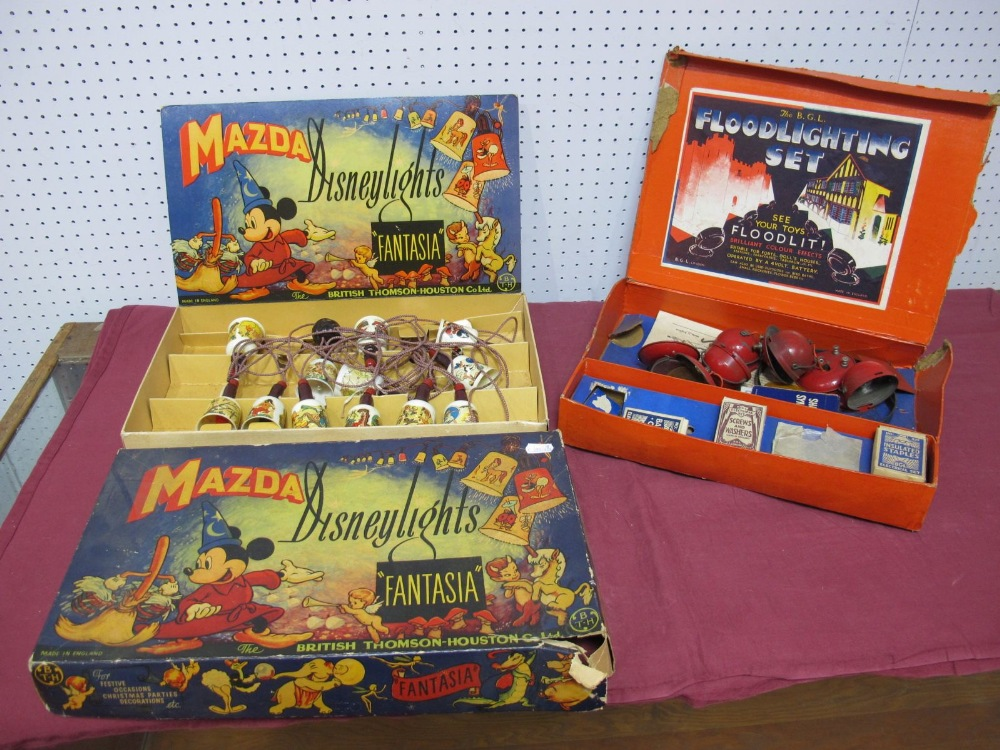 Lot 50 - A Set of Mazda Disney Fantasia Lights, boxed, and a BGL toy theatre floodlight set, boxed.
