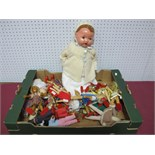 Approximately Twenty Wooden Jointed Dolls, a small Rosebud plastic jointed doll, plus a mid XX