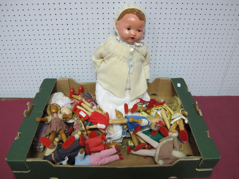 Lot 44 - Approximately Twenty Wooden Jointed Dolls, a small Rosebud plastic jointed doll, plus a mid XX