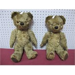 Two Mid XX Century Jointed Chad Valley Teddy Bears, 36cm tall, well loved.