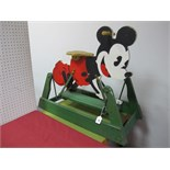 A Mid XX Century Child's Rocking Horse, in the style of Mickey Mouse, 80cm long, 70cm high, some