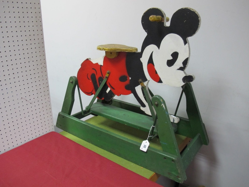 Lot 32 - A Mid XX Century Child's Rocking Horse, in the style of Mickey Mouse, 80cm long, 70cm high, some