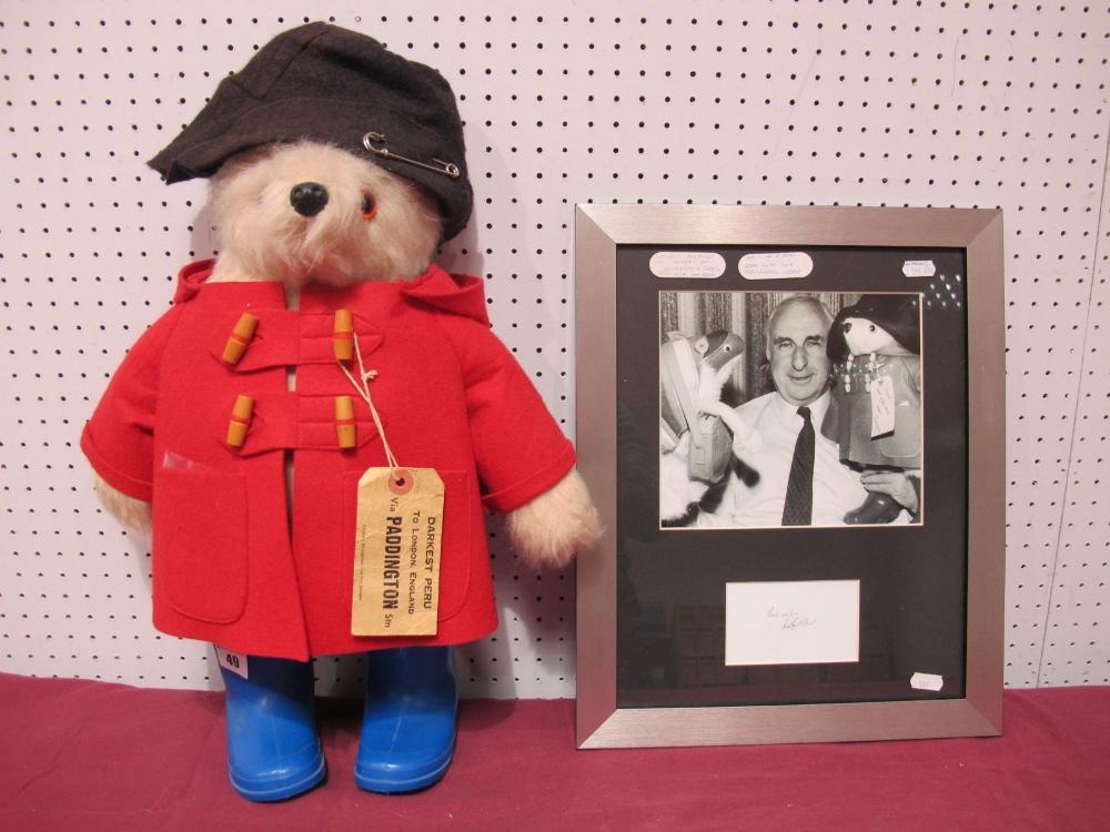Lot 49 - A Gabrielle Paddington Bear, circa 1980, red duffle coat, blue boots, brown felt hat, Darkest Peru