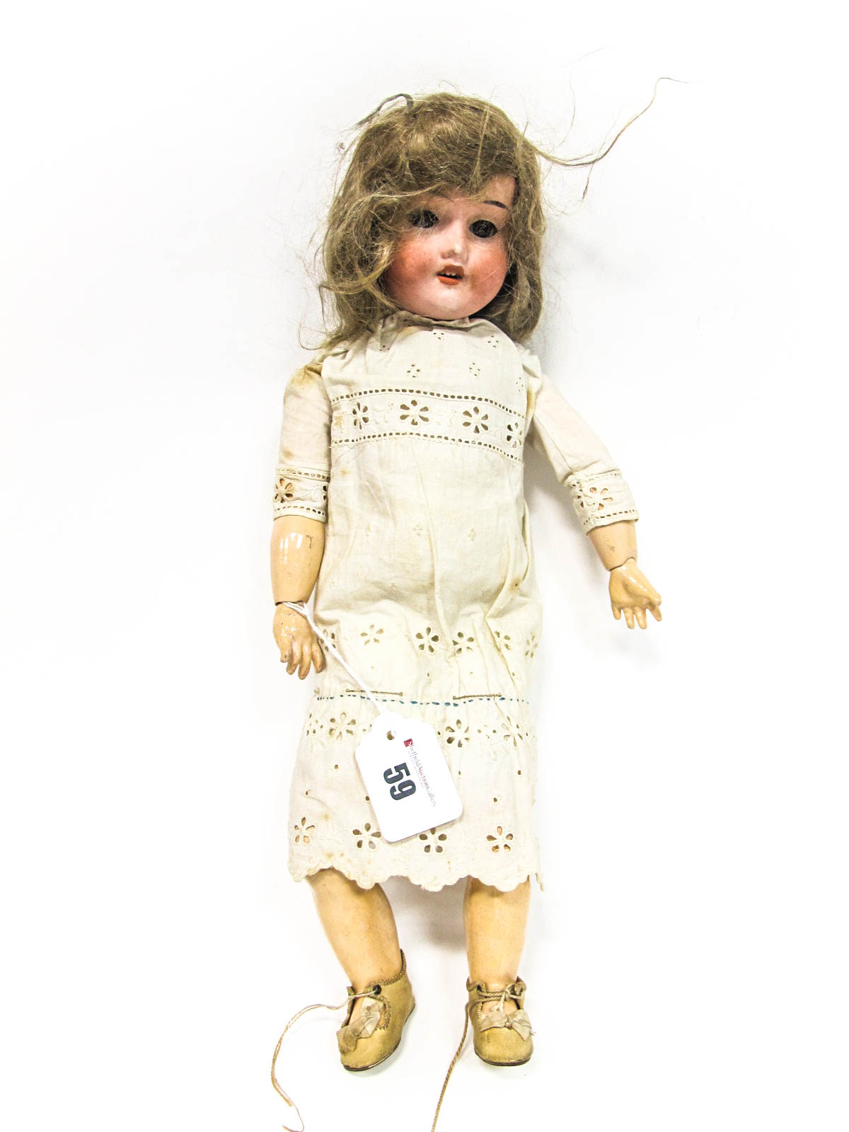 Lot 59 - An Early XX Century Bisque Headed Doll, Simon Halbig, stamped 1909, sleepy eyes, open mouth with