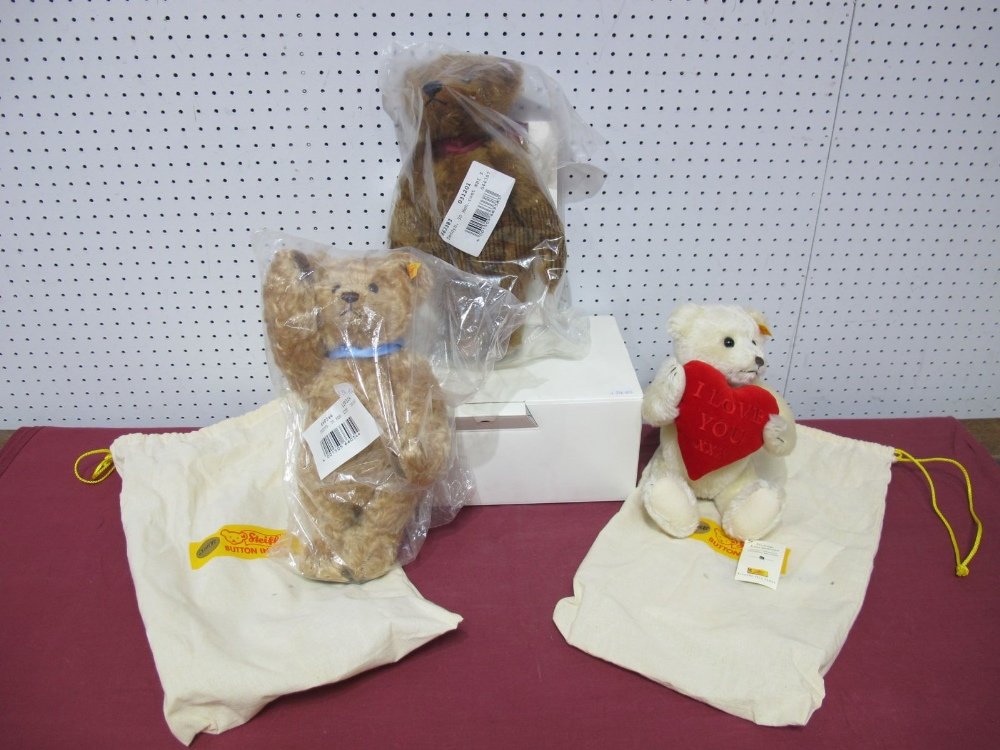 Lot 16 - Three Modern Steiff (Danbury Mint) Teddy Bears, The 2011 Steiff Bear, certificated boxed, The 2002