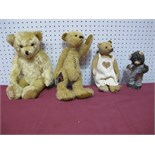 Three Modern Small Teddy Bears, and a Japanese circa 1960's wind up 'milk drinking' bear, well