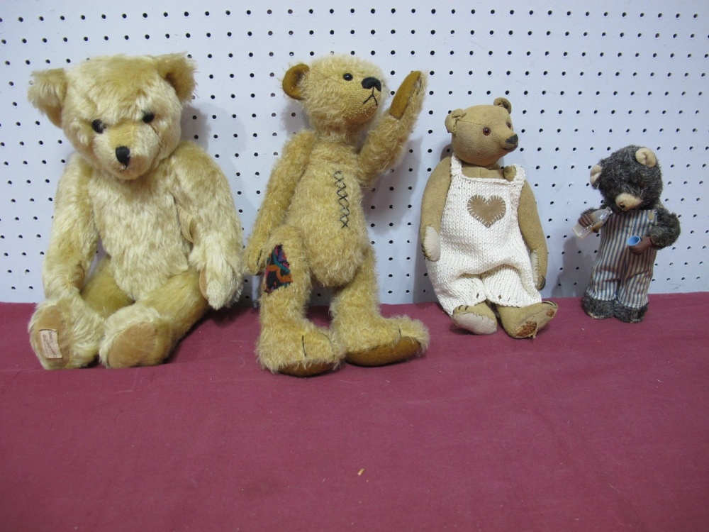 Lot 58 - Three Modern Small Teddy Bears, and a Japanese circa 1960's wind up 'milk drinking' bear, well