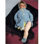 A 1st Half XX Century Bisque Headed Doll by Heubahn Keppelsdorf, head stamped 342/7, sleepy eyes,