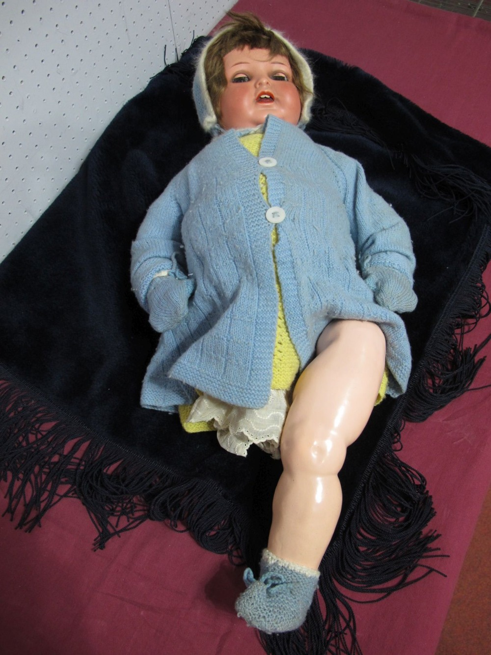 Lot 3 - A 1st Half XX Century Bisque Headed Doll by Heubahn Keppelsdorf, head stamped 342/7, sleepy eyes,