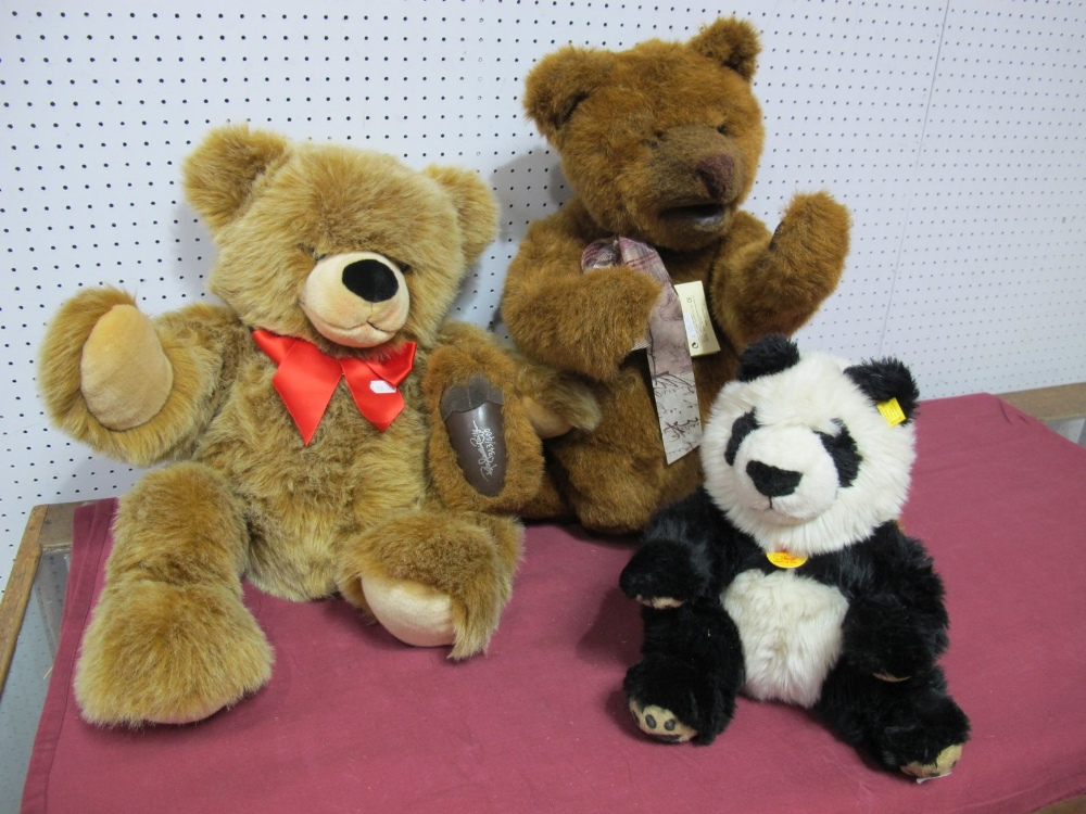 Lot 35 - Three Modern Teddy Bears by Steiff and Gund, Steiff Manschili Panda, Steiff Bobby Bear, Gund Honey