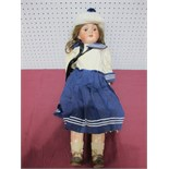 An Early XX Century Bisque Headed Doll by Max Handwerck of Germany, head stamped 283/285. Sleepy
