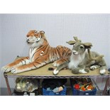Two Large Modern Soft Toys, a tiger and a reindeer.