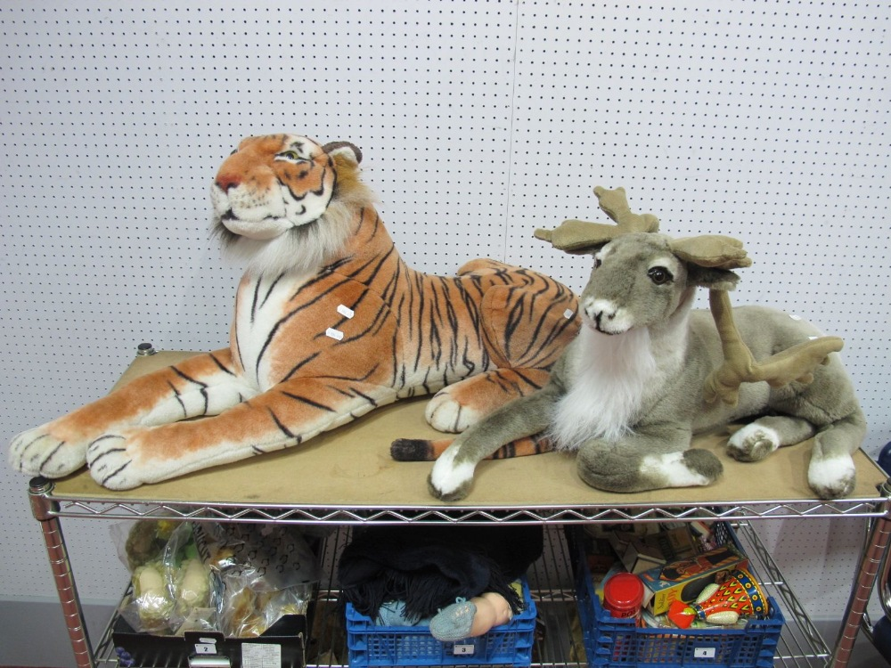 Lot 1A - Two Large Modern Soft Toys, a tiger and a reindeer.