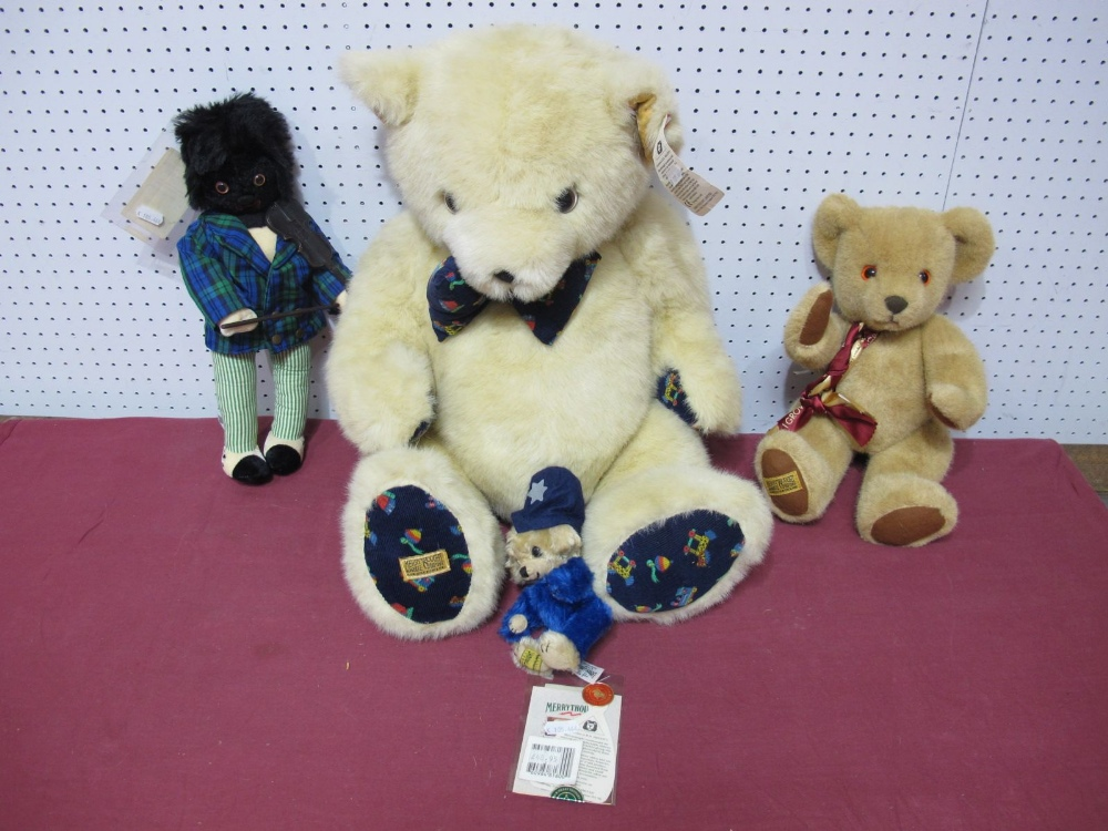 Lot 40 - Three Modern Teddy Bears and Golly by Merrythought, including Cheeky in the Beat No. 311 of 500,