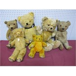 Six Mid XX Century and Later Teddy Bears by Chad Valley and Others, 23-48cm, well loved.