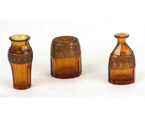 A Moser glass vase of ribbed baluster form, 12cms (4.75ins) high; together with two similar vases (3).Condition Reportscent b