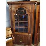 GOOD QUALITY MAHOGANY LARGE FLOOR STANDING CORNER CUPBOARD WITH ASTRAGAL GLAZED DOOR OVER TWO