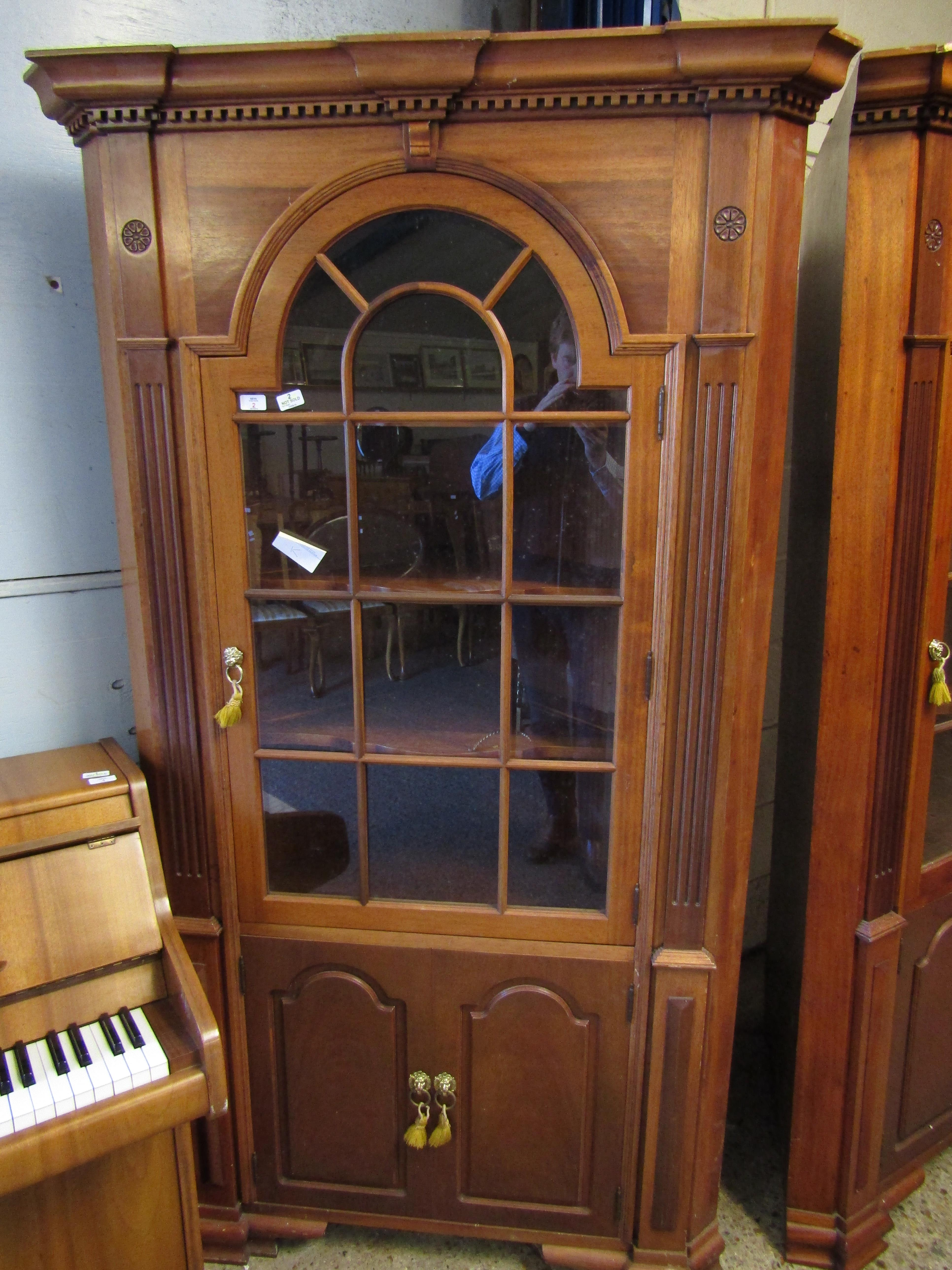 Lot 2 - GOOD QUALITY MAHOGANY LARGE FLOOR STANDING CORNER CUPBOARD WITH ASTRAGAL GLAZED DOOR OVER TWO