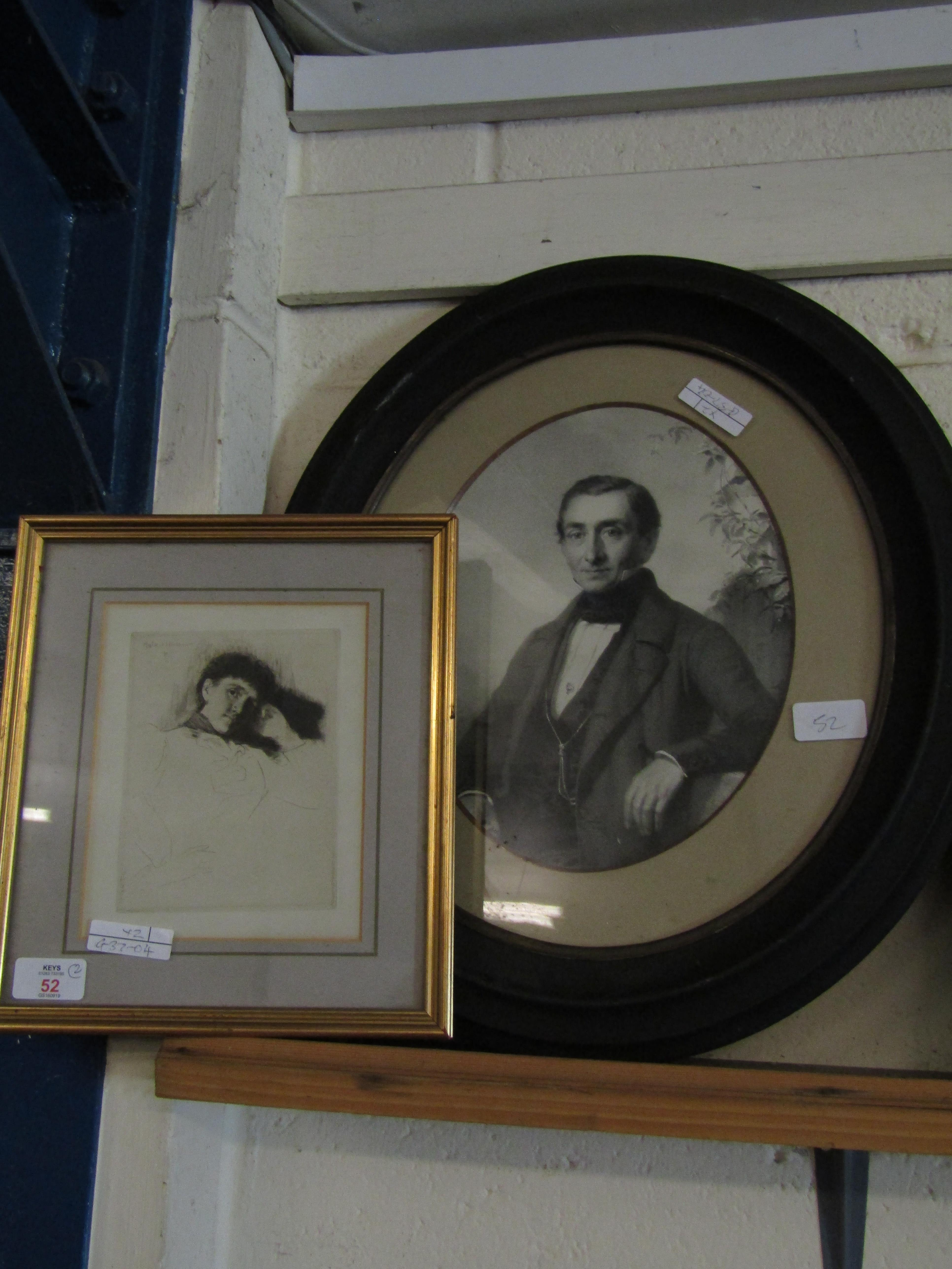 EBONISED PRINT OF A VICTORIAN GENT AND ONE OTHER IN A GILT FRAME OF A LADY (2)