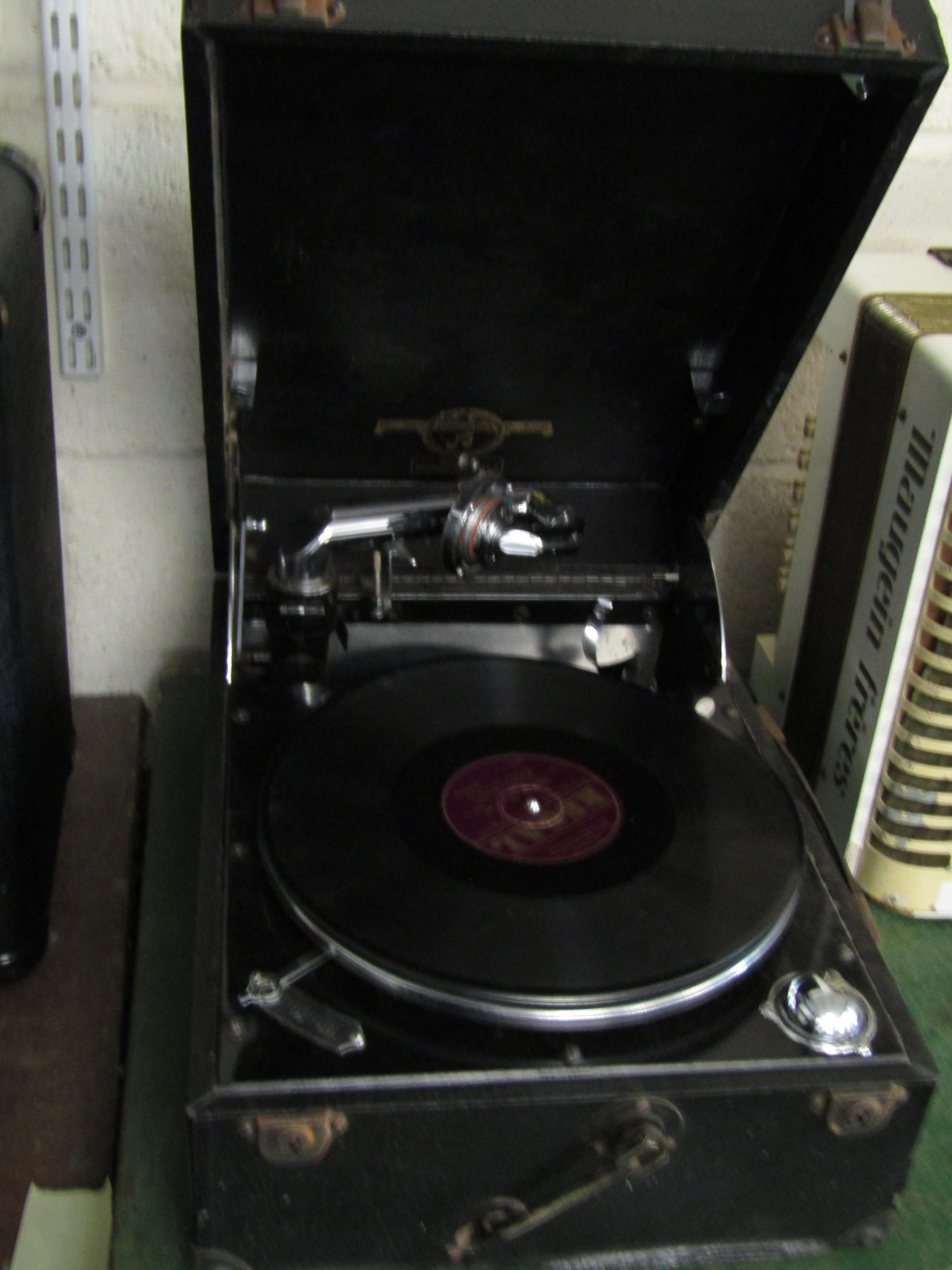 REXINE CASED COLUMBIA RECORD PLAYER MODEL 202
