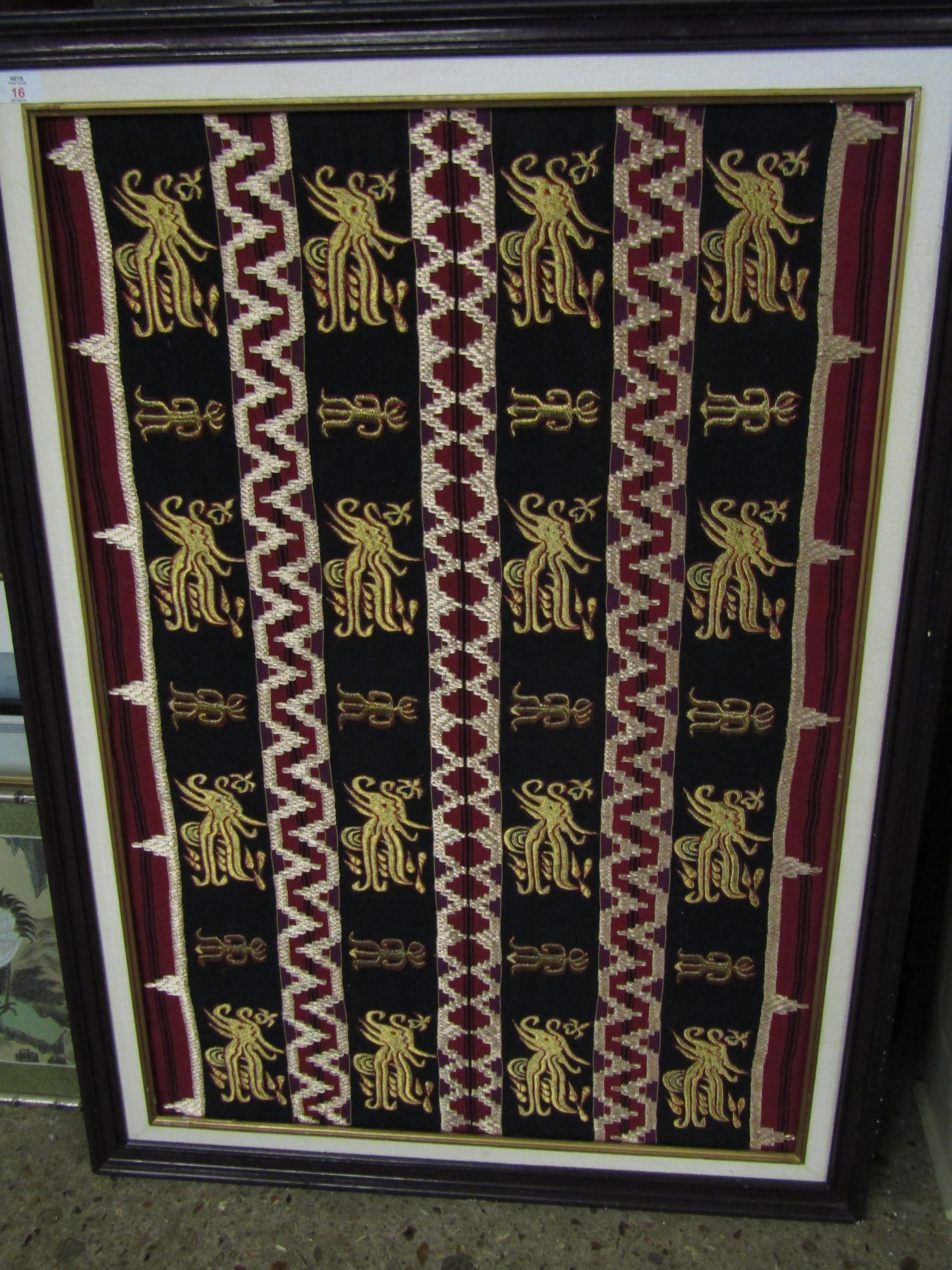 Lot 16 - GOOD QUALITY FRAMED EMBROIDERED PANEL