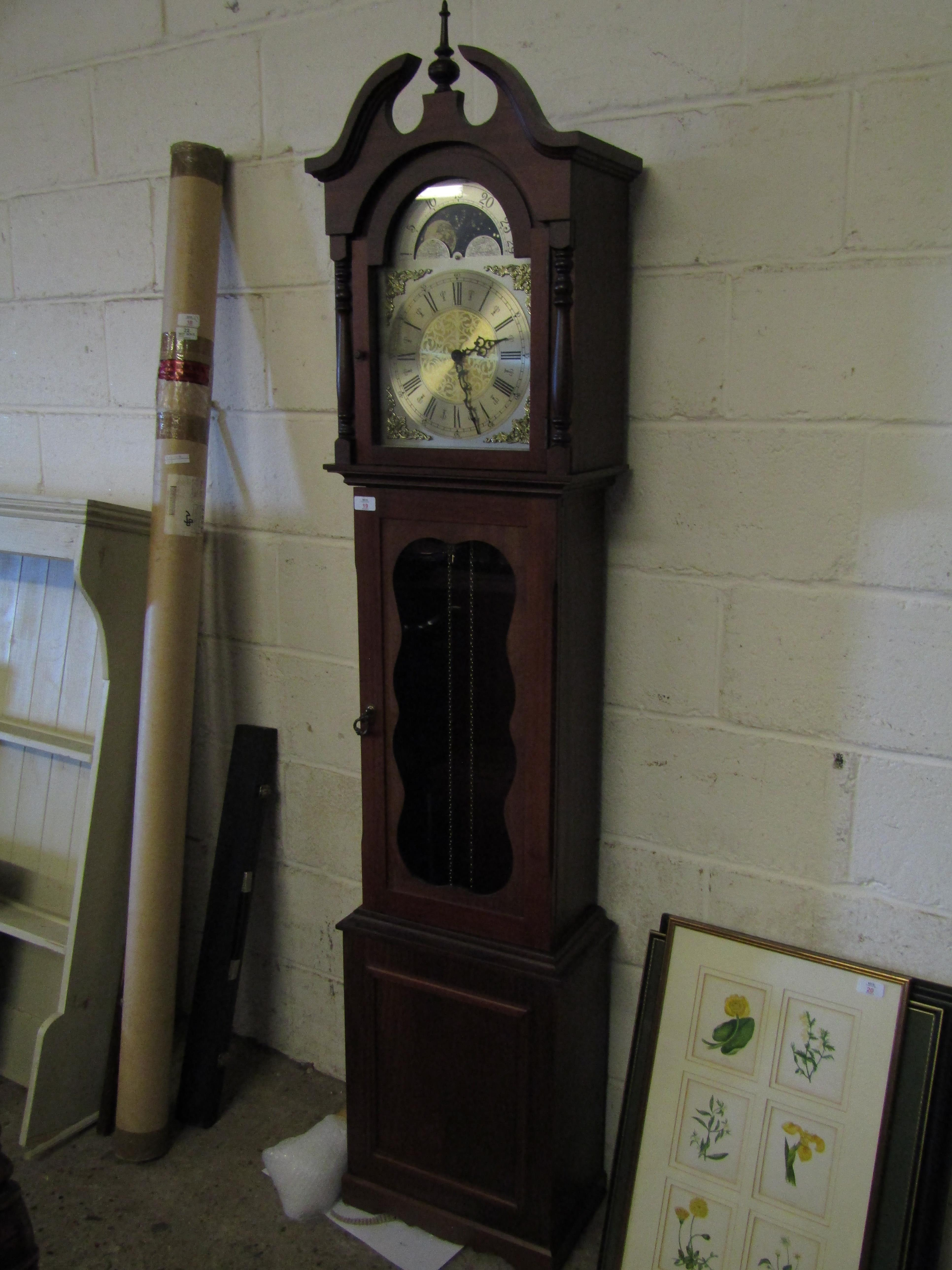 TEAK LONG CASE CLOCK WITH SILVER DIAL AND MOON ROLLER