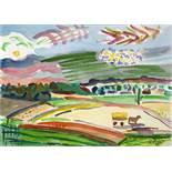 Werner Gilles. Schwarzenbach. Aquarell. 1946. 31,5 : 41,5 cm. Signiert. Vom Vorbesitzer 1965 durch