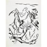 Willi Geiger. Paar mit Tier. Lithographie. 1917. 23,0 : 17,2 cm (38,0 : 27,0 cm). Signiert, im Stein