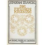 Stefan Zweig. Die frühen Kränze. Leipzig, Insel 1906. Mit Titelblattillustration von Marcus