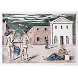 Giorgio de Chirico. La partenza di Giasone. Farblithographie. 1966. 30,5 : 45,5 cm. Signiert.