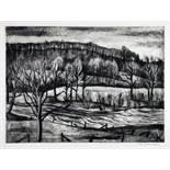 Franz M. Jansen. Bröltal-Landschaft. Radierung. Um 1928. 24,9 : 34,0 cm. (31,2 : 41,0 cm). Signiert.