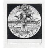 Exlibris - Max Klinger. Aus Bode's Bücherei. Kaltnadelradierung. 1894. 6,4 : 5,7 cm (8,8 : 6,6 cm,