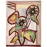 Erich Heckel. Dunkle Sonnenblumen. Aquarell. 1954. 69,0 : 53,3 cm. Signiert, datiert und betitelt.