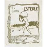 Exlibris - Max Esterle. Ex libris Esterle. Farbige Lithographie. 1899. 8,3 : 7,0 cm (11,2 : 8,5 cm).