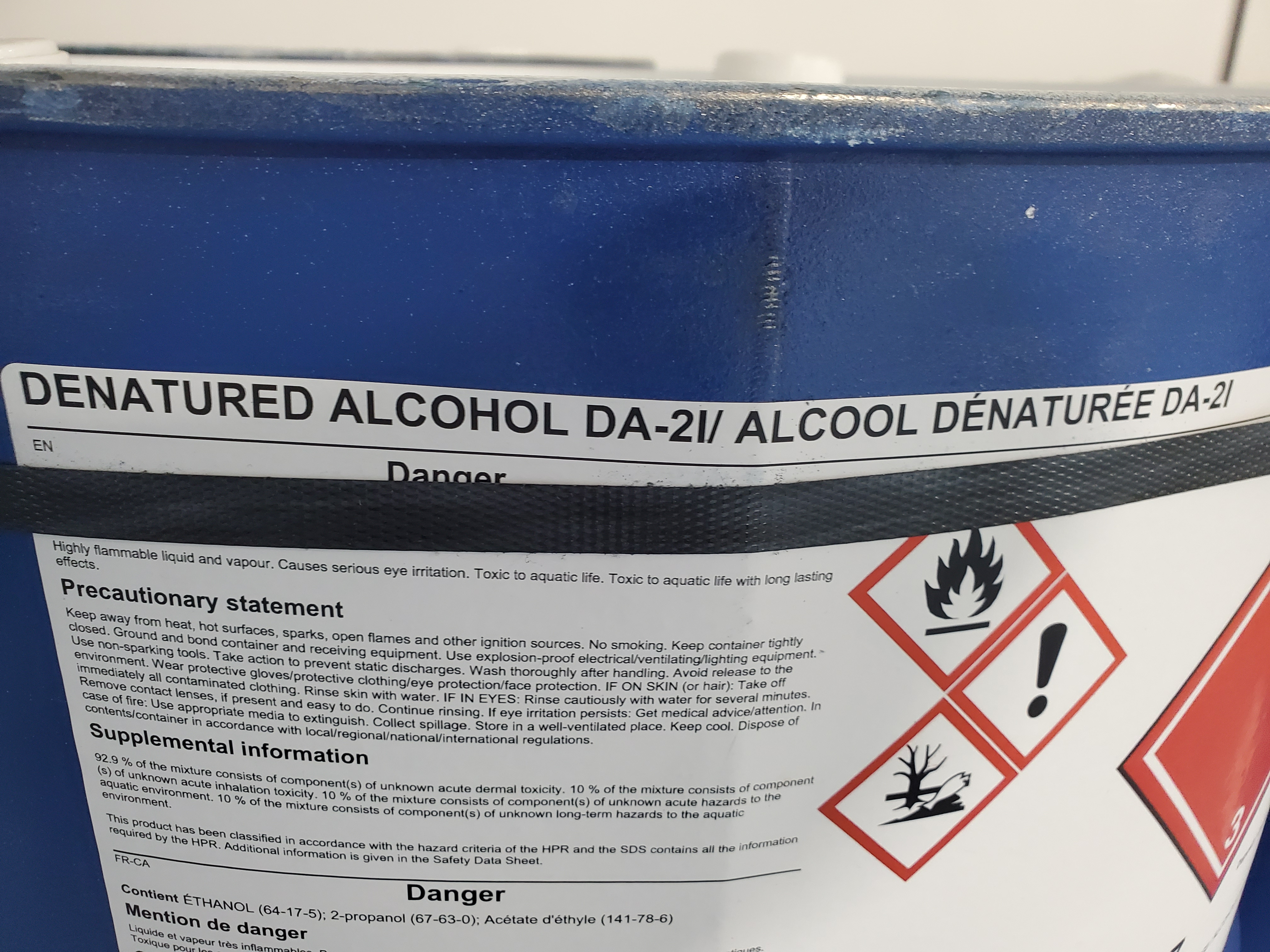 Package F - 8 Drums Denatured Alcohol DA-2I, New, Fresh, will include COA Location B1, Must be