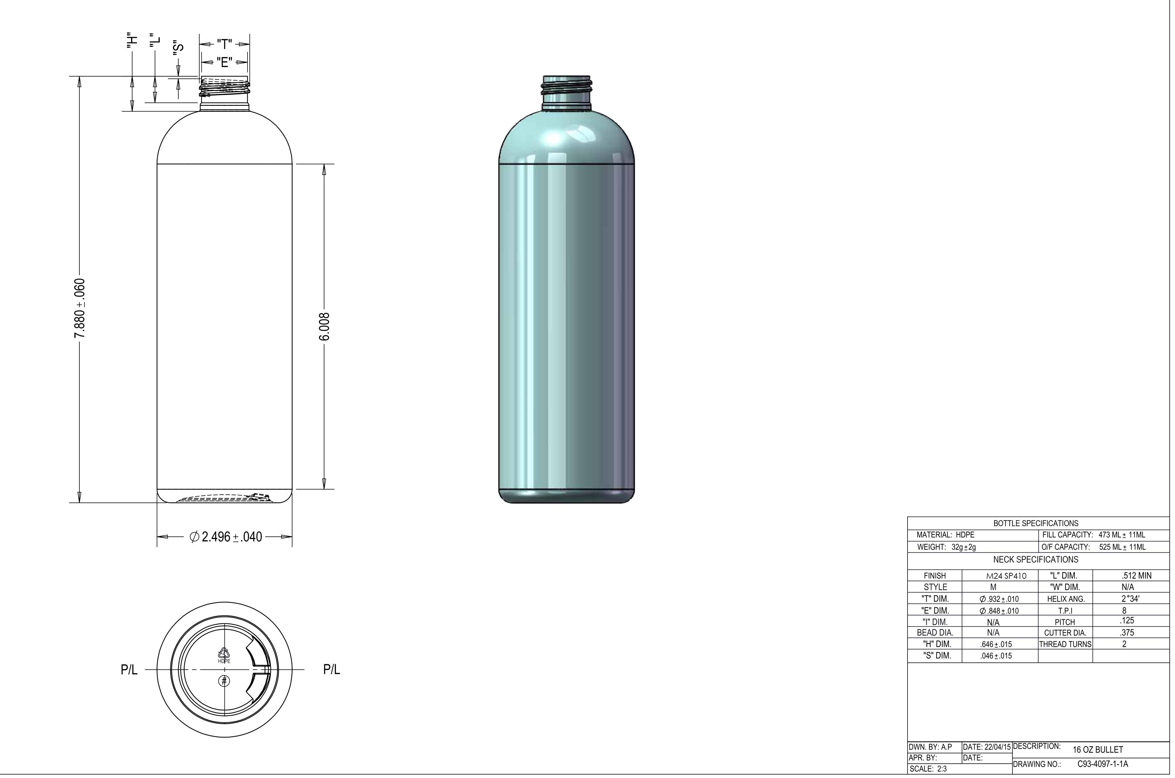 25,000 HDPE Bottles, NATURAL, NEW, 24/410 Neck, 16oz Boston Round - Image 5 of 6