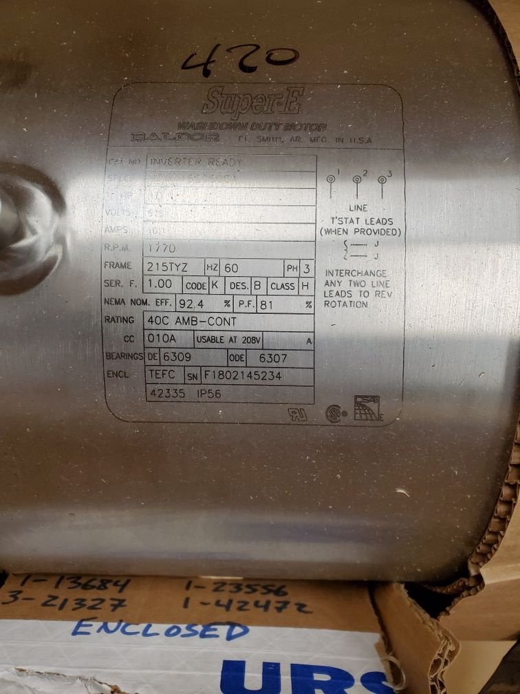 Baldor Super E Washdown Duty 10HP Electric Motor - Stainless Steel - Image 2 of 3
