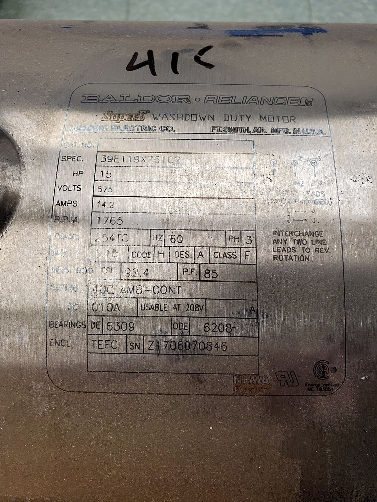 Baldor Reliance Super E Washdown Duty Motor 15HP - Image 2 of 4