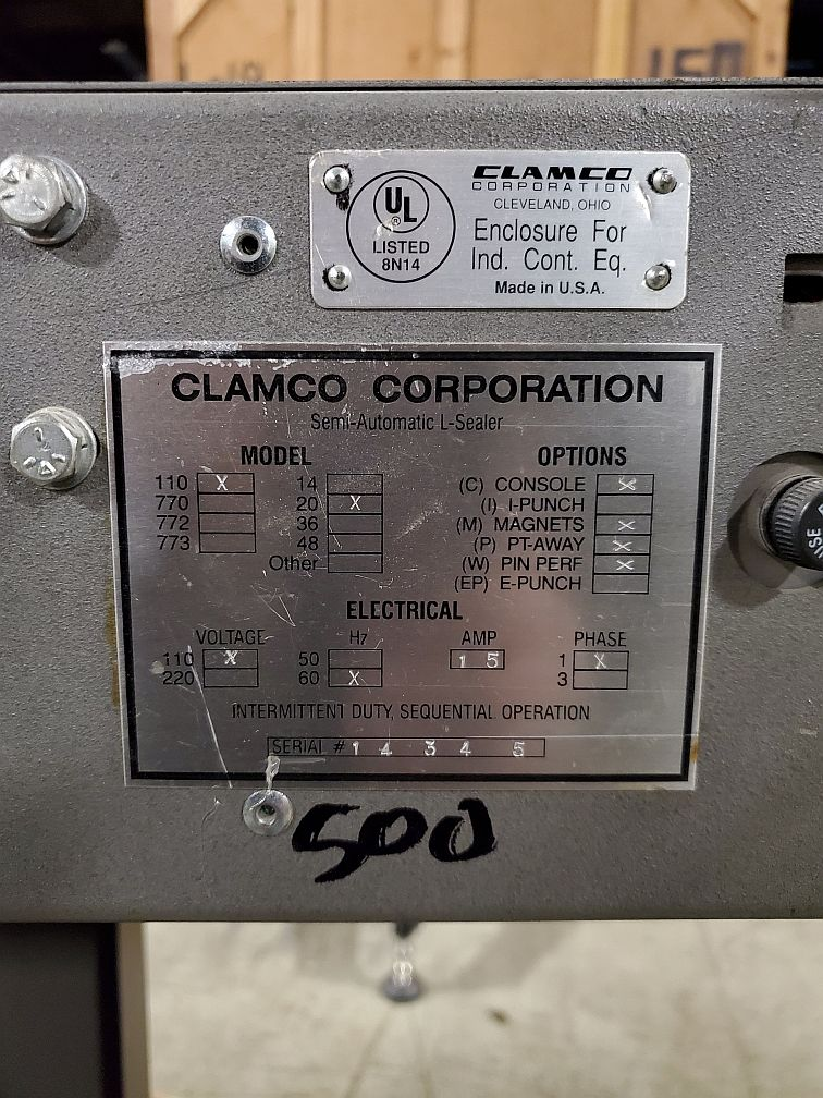 Clamco Semi-Automatic L-Bar Sealer with Shrink TunnelModel 110-20 - Image 4 of 4