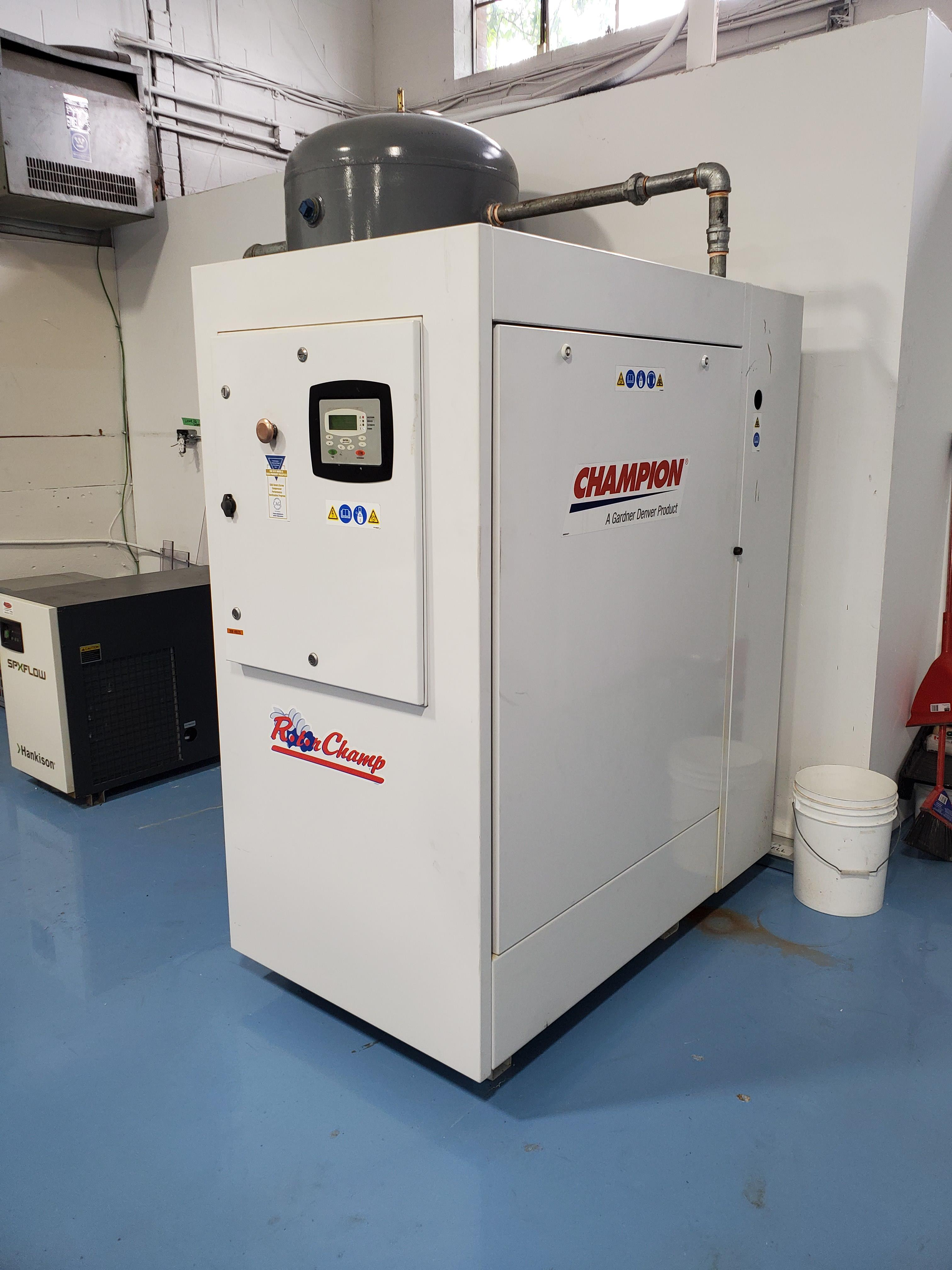 40 HP Gardner Denver CHAMPION Rotor Champ Air Compressor /w Dryer