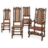FOUR WILLIAM AND MARY WALNUT CHAIRS