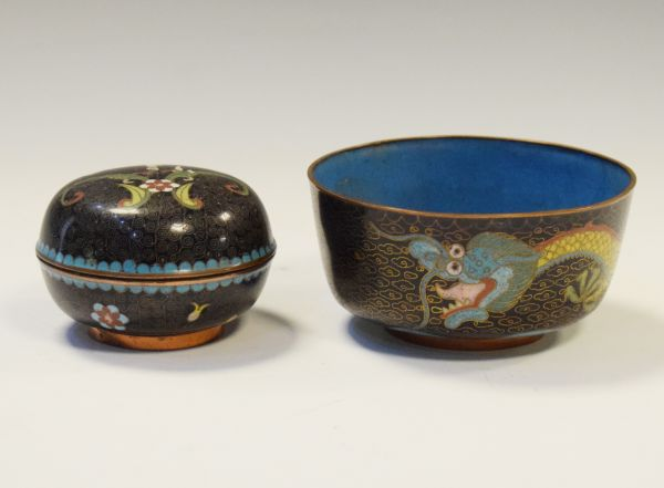 Lot 373 - Cloisonné bowl and cover, and one other larger bowl measuring 11cm diameter