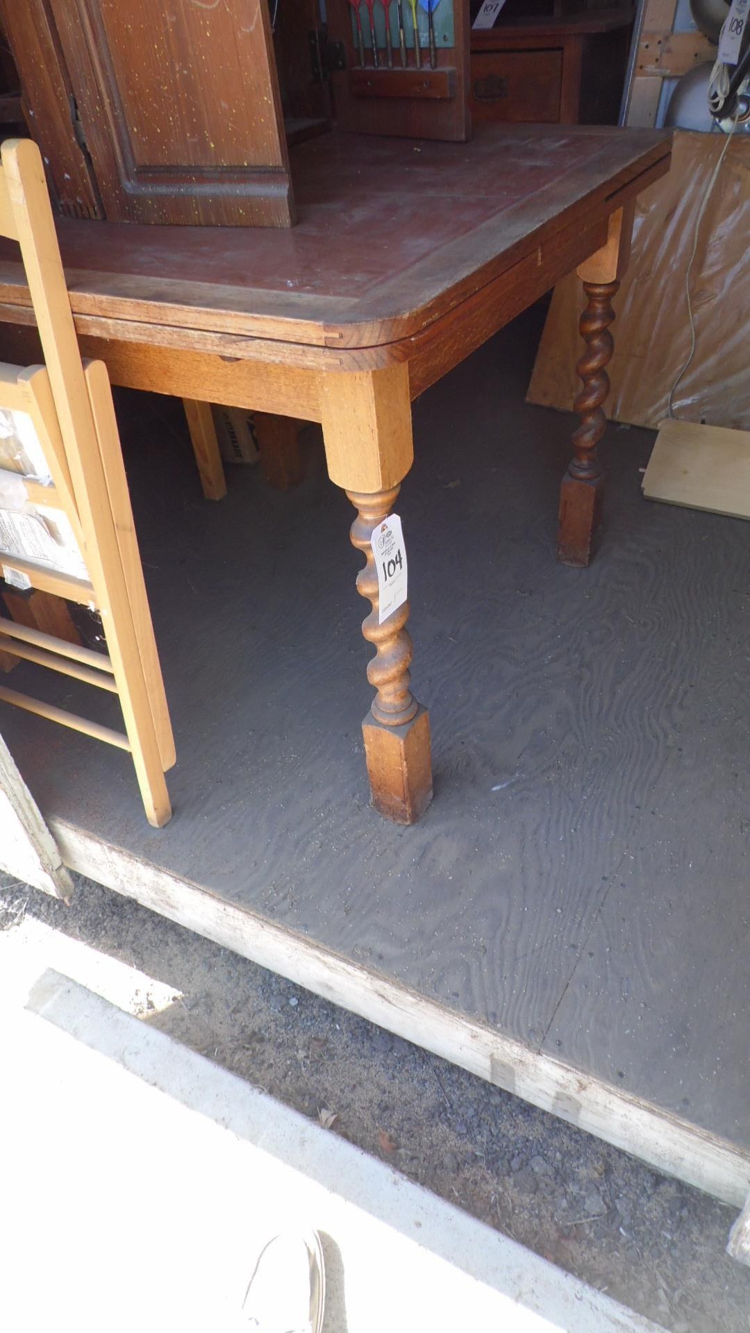 Lot 104 - LEATHER TOP TABLE & CHAIRS
