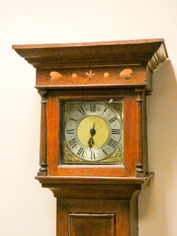 A striking 30 hour grandfather clock in oak case, - Image 2 of 6