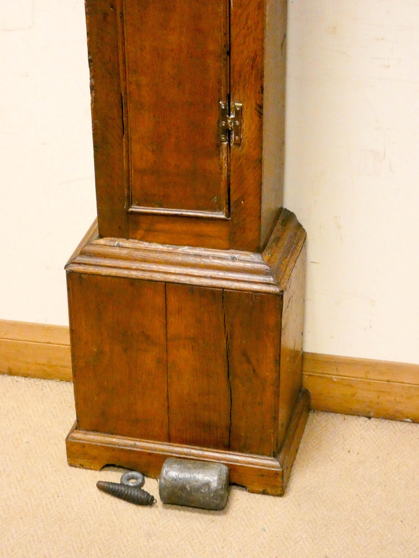 A striking 30 hour grandfather clock in oak case, - Image 5 of 6