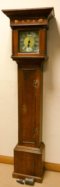 A striking 30 hour grandfather clock in oak case,