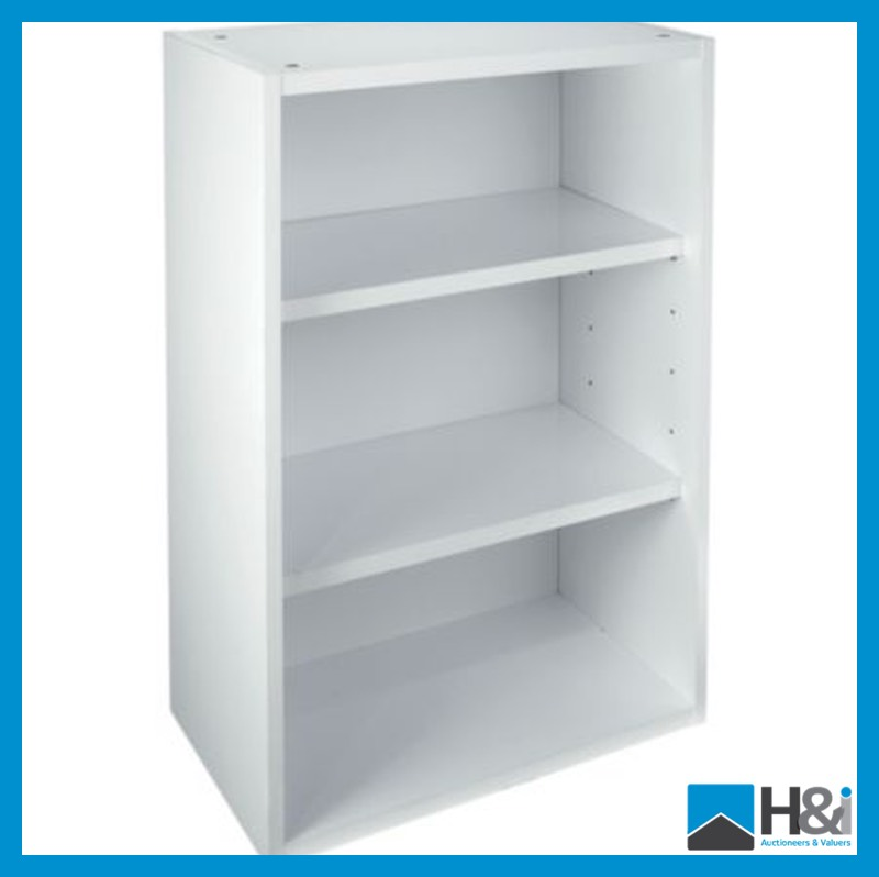 B q cooke lewis white gloss open wall cabinet 720mm high for Kitchen cabinets 500mm wide