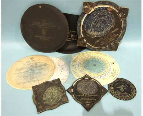 A Philips Planisphere, 32cm (damaged), two smaller Philips Planispheres, 17cm, a Hydrographic Office Rude Star Identifier and