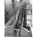 s/s inclined screw conveyor 16 in. diam. x 18 in. L  w/ sides c/w load cells Weigh-Tronix mod.  WI-